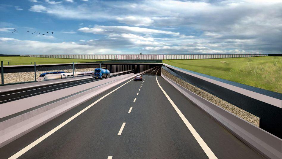 Grafik zur geplanten Fehmarnbelt-Querung: So könnte der Tunnel aussehen