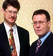 """Frühere Infomatec-Chefs Harlos (rechts), Häferle: """"Sittenwidrige vorsätzliche Schädigung"""""""