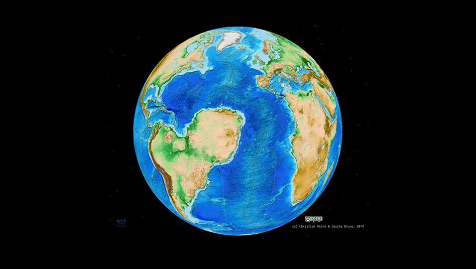 "Erde mit ""Sahara-Atlantik"": Südamerika mit Nase, zerbrochenes Afrika"