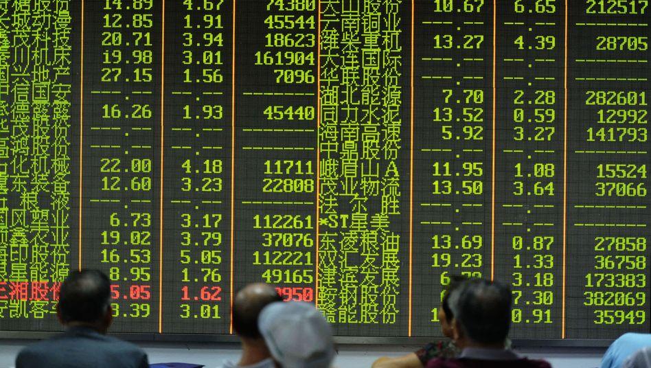 Kurstafel in Hangzhou (am 21. August): Sorge um Chinas Wirtschaftsentwicklung