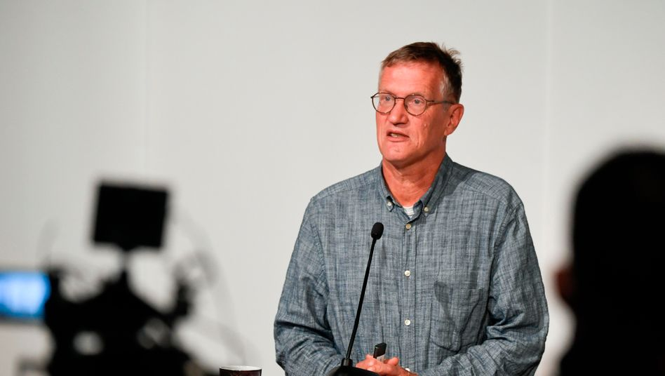 Staatsepidemiologe Anders Tegnell bei einer Pressekonferenz in Stockholm