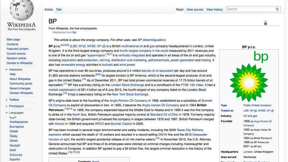 Eintrag über BP auf en.wikipedia.org: Hat der Konzern Einfluss genommen?