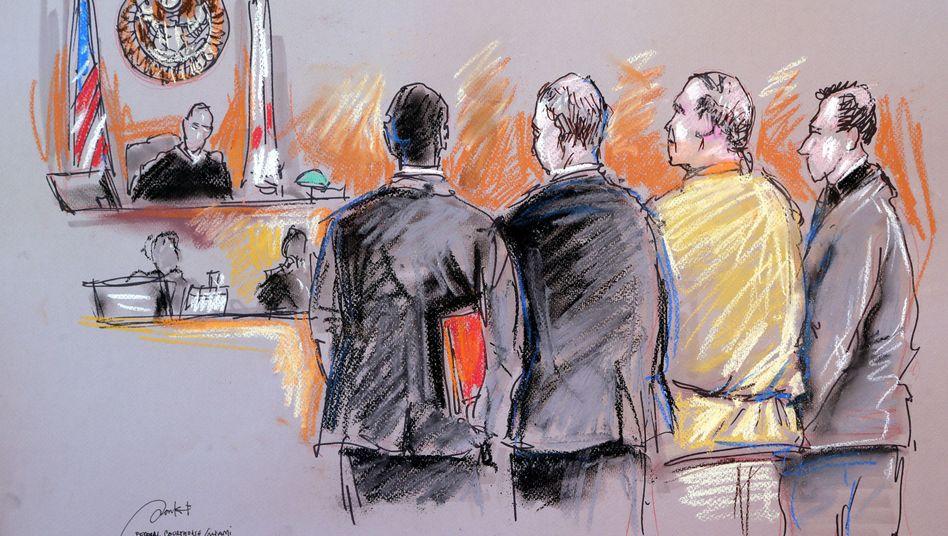 Cesar S. (2.v.r) vor Gericht (Gerichtszeichnung)