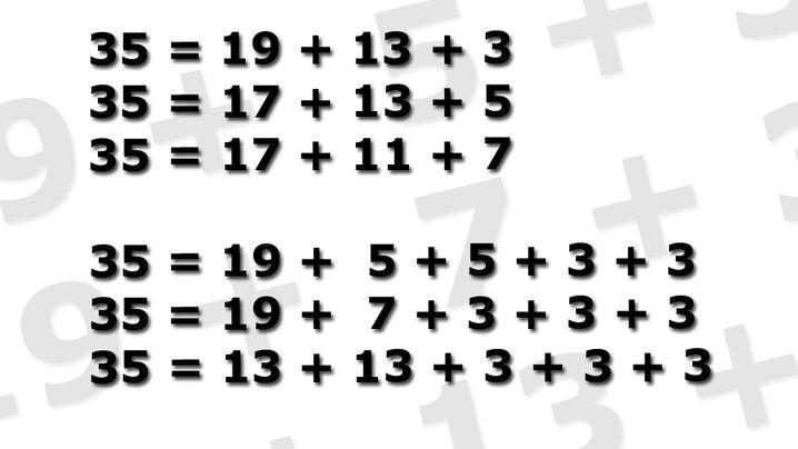 Primzahl-Zerlegung: 10 = 5 + 3 + 2