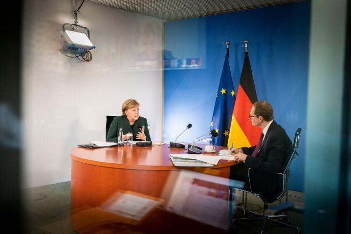 Kanzlerin Merkel, Berlins Regierender Bürgermeister Michael Müller