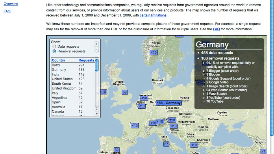 Google's new map of government requests: Germany came second in terms of removal requests.