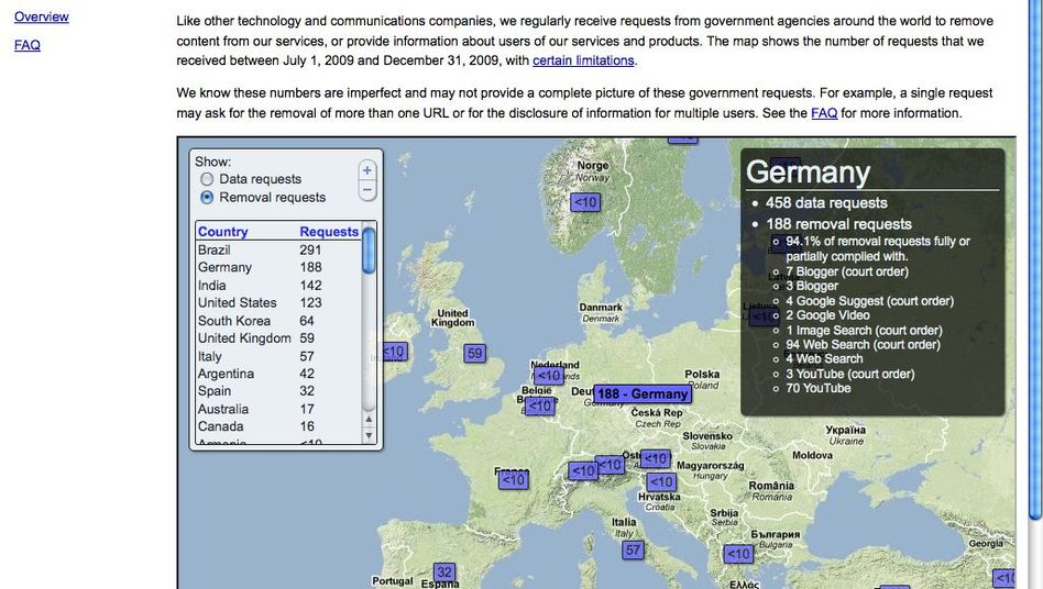 Policing The Web Germany No 2 In Google Censorship Rankings