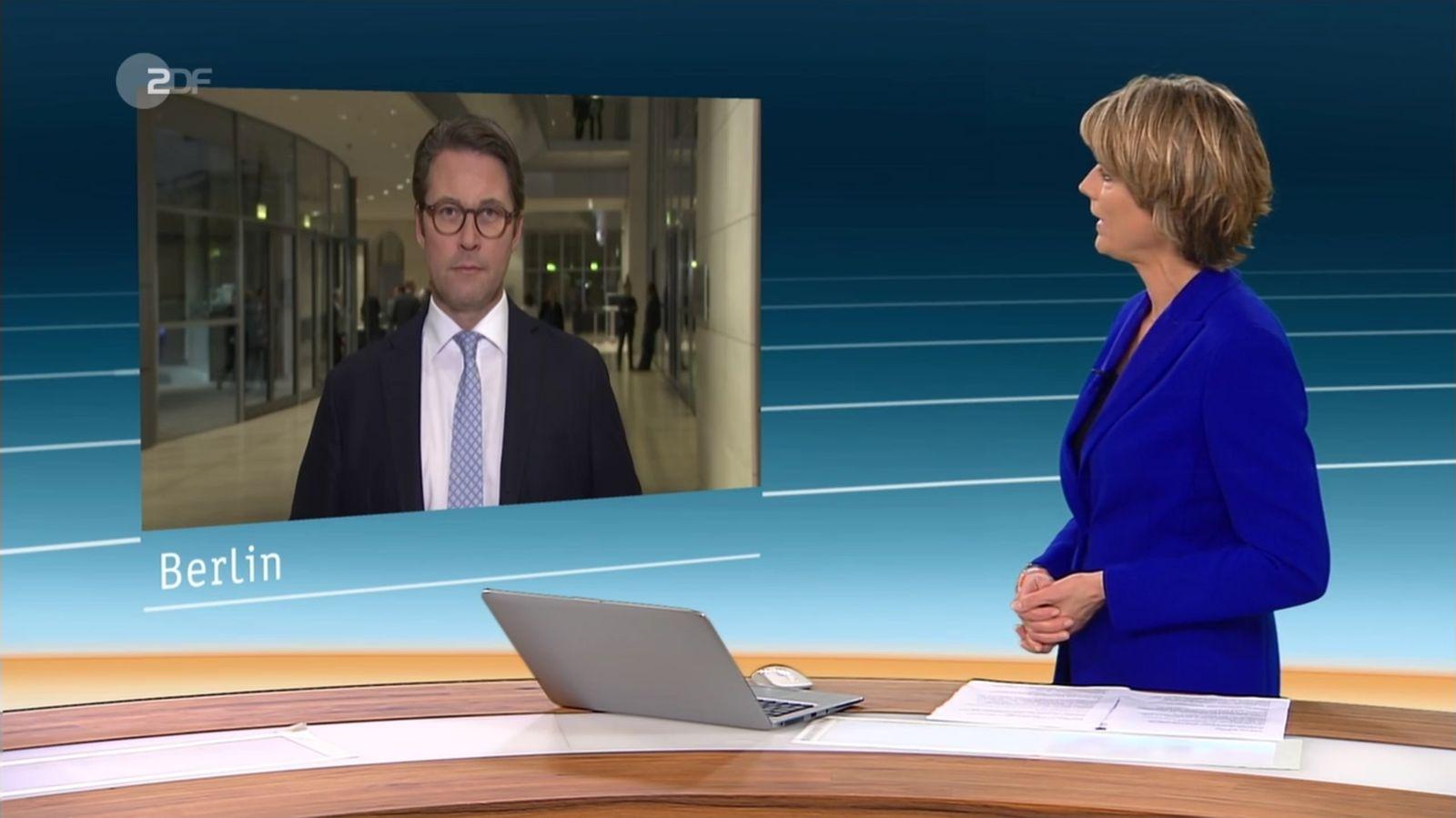 EINMALIGE VERWENDUNG SCREENSHOT / NUR ALS ZITAT heute / Scheuer