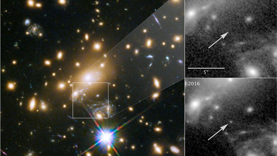 """2011 konnte man """"Ikarus"""" noch nicht erkennen, 2016 ist er im """"Hubble""""-Teleskop zu sehen"""
