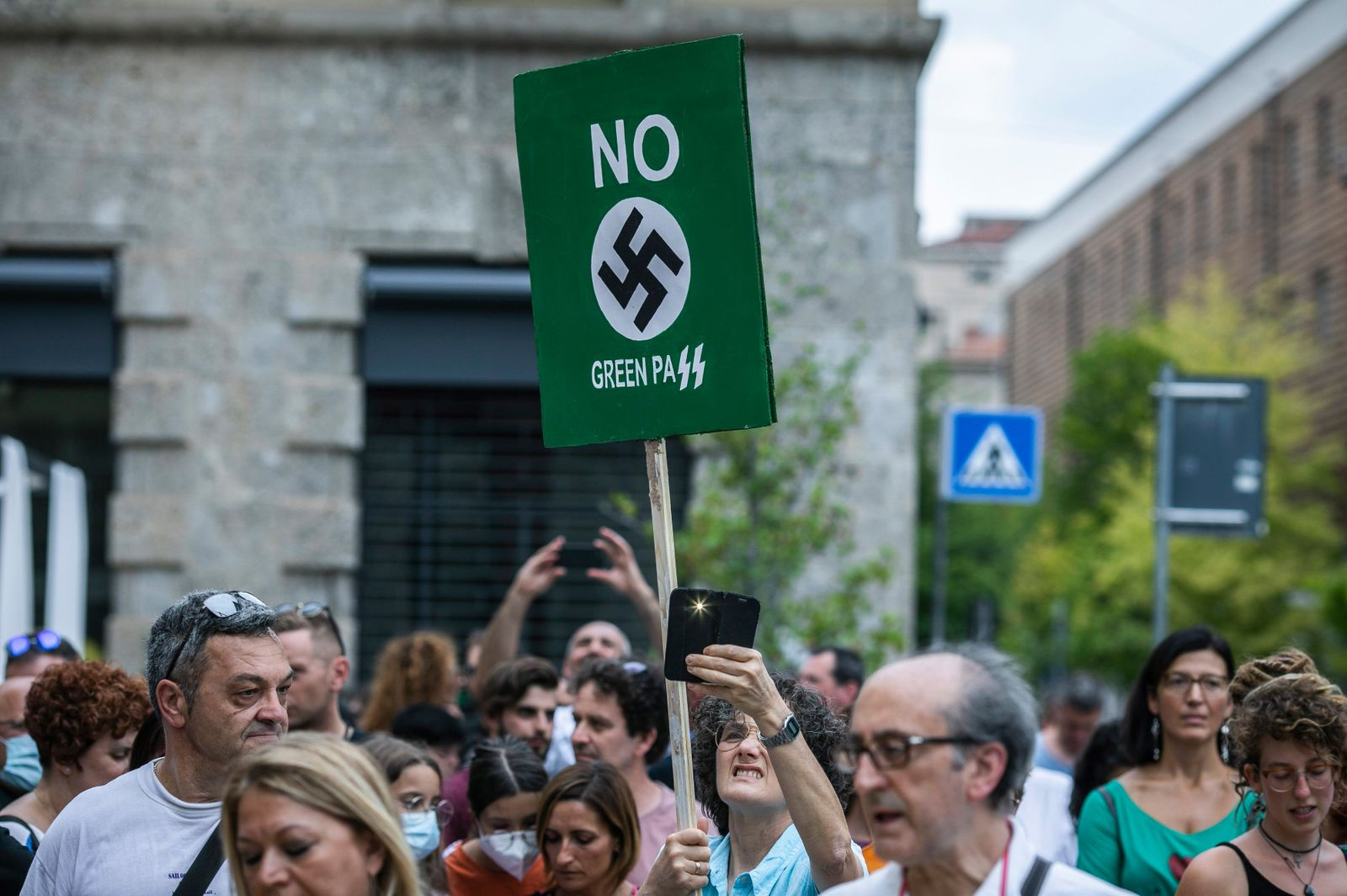 Italy, Bergamo: Covid-19 deniers, No Vax, conspiracy theorists and far right people demonstrate against the Green Pass required by the government starting from 6 August