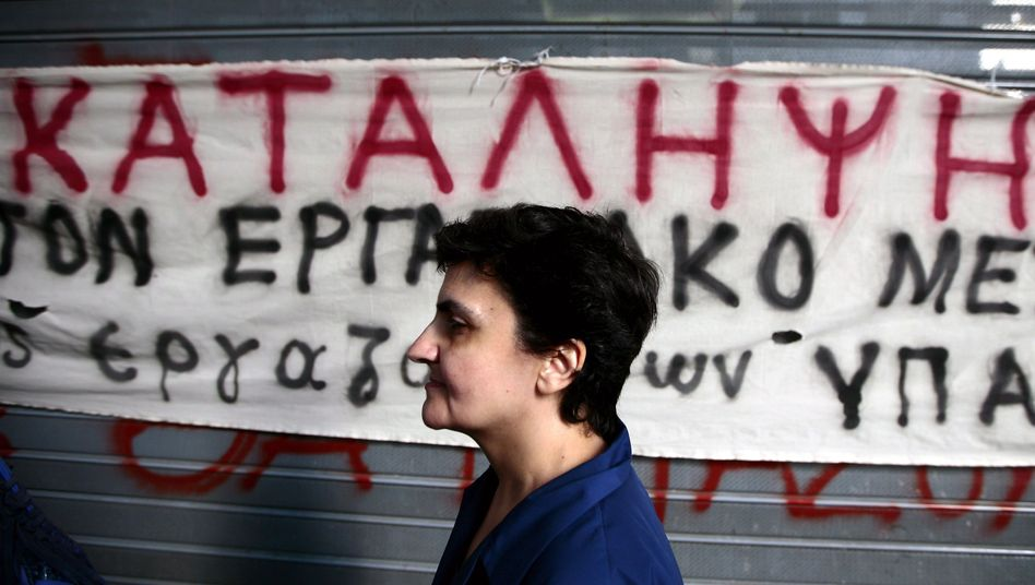 A Greek Finance Ministry employee during a sit-in on Tuesday, when Ministry workers staged protests of austerity measures across Athens.