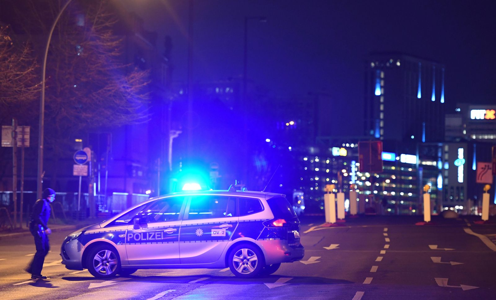 Police block a large area in the city center near the Red City Hall, as a WWII bomb is being defused in Berlin