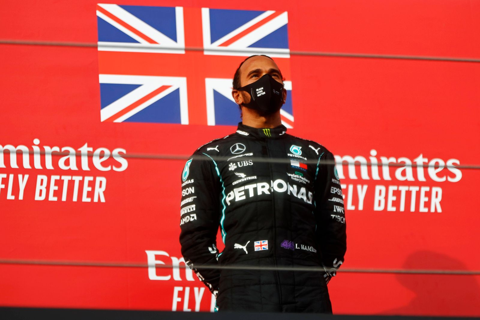 2020 Emilia-Romagna GP IMOLA, ITALY - NOVEMBER 01: Lewis Hamilton, Mercedes-AMG Petronas F1, 1st position, on the podium