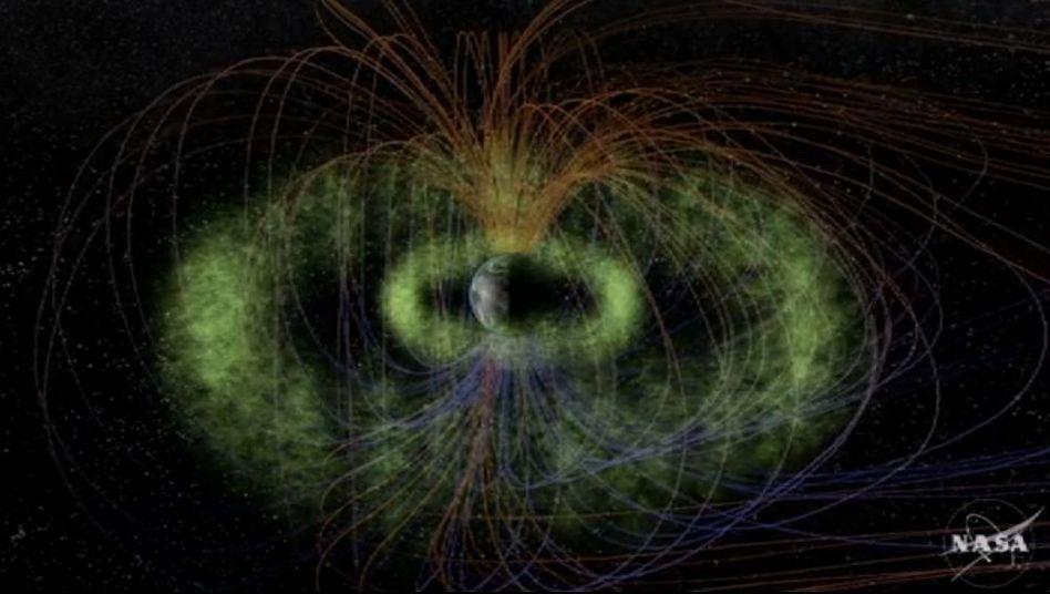 Grafische Animation des Erdmagnetfelds