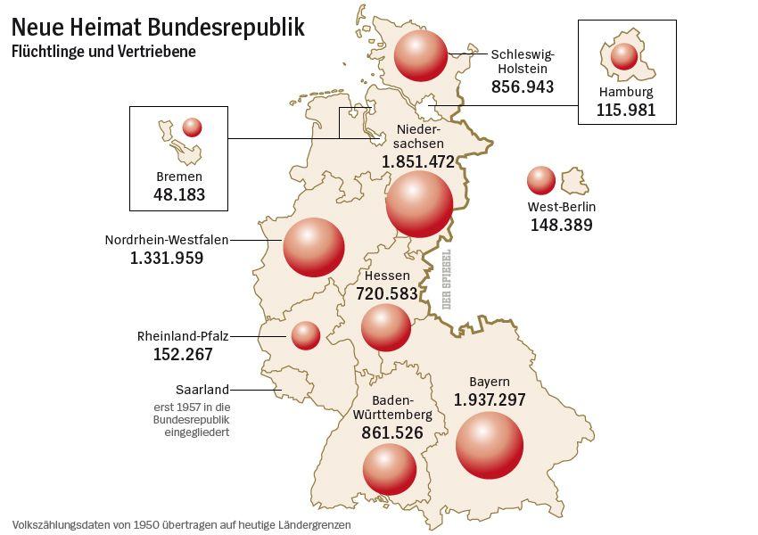 Karte - Flüchtlinge und Vertriebene - Neue Heimat Bundesrepublik - Volkszählungsdaten von 1950