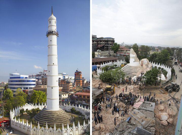 Dharahara-Turm vor und nach dem Erdbeben