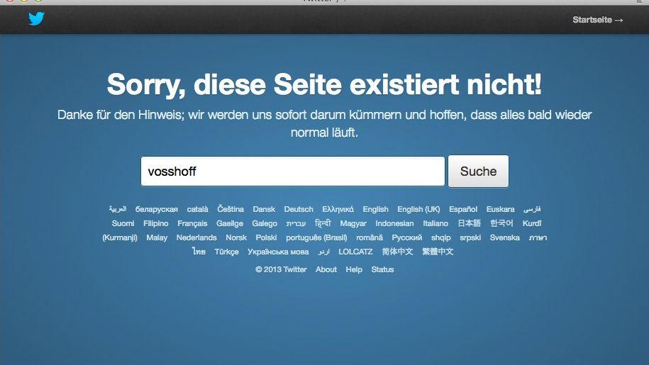 Fehlermeldung bei Twitter: Das Profil von Andrea Voßhoff wird nicht mehr gefunden