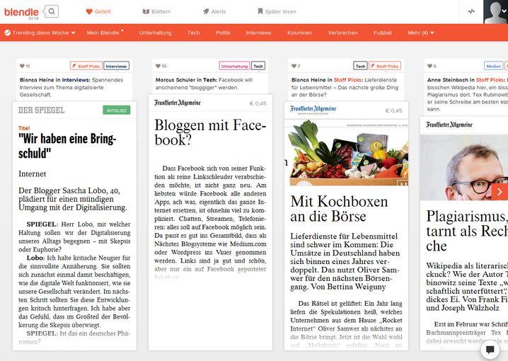 Artikel-Auswahl: Bei Blendle sind viele der wichtigsten Zeitungen und Zeitschriften vertreten - dafür wenige Nischenmedien