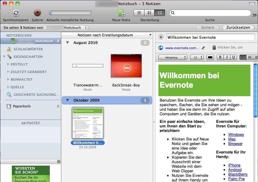 SCREENSHOT Evernote / Netzwelt