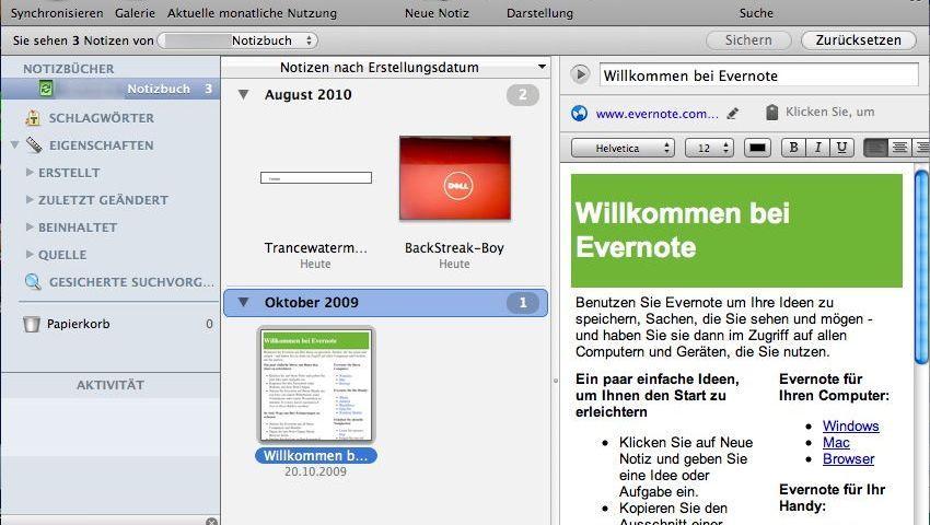 """Die Freeware Evernote soll helfen, """"Herr der virtuellen Zettelwirtschaft zu werden"""""""