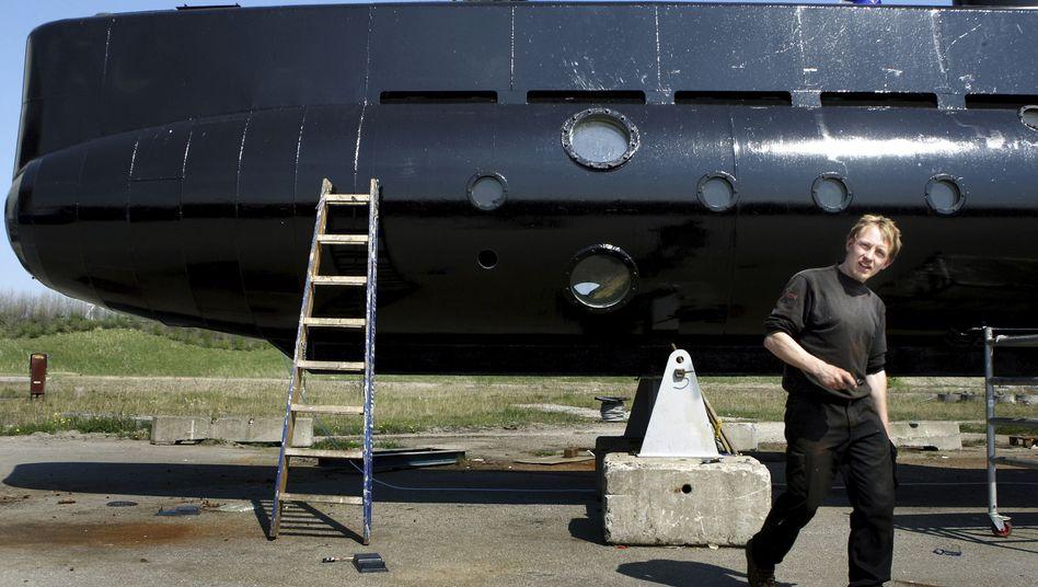 Peder Madsen mit seinem U-Boot (2008)