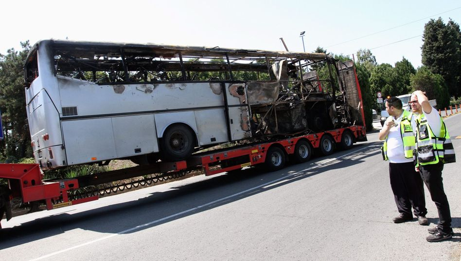 A bus damaged in a terrorist attack on Israeli tourists at Bourgas Airport in Bulgaria on July 19.