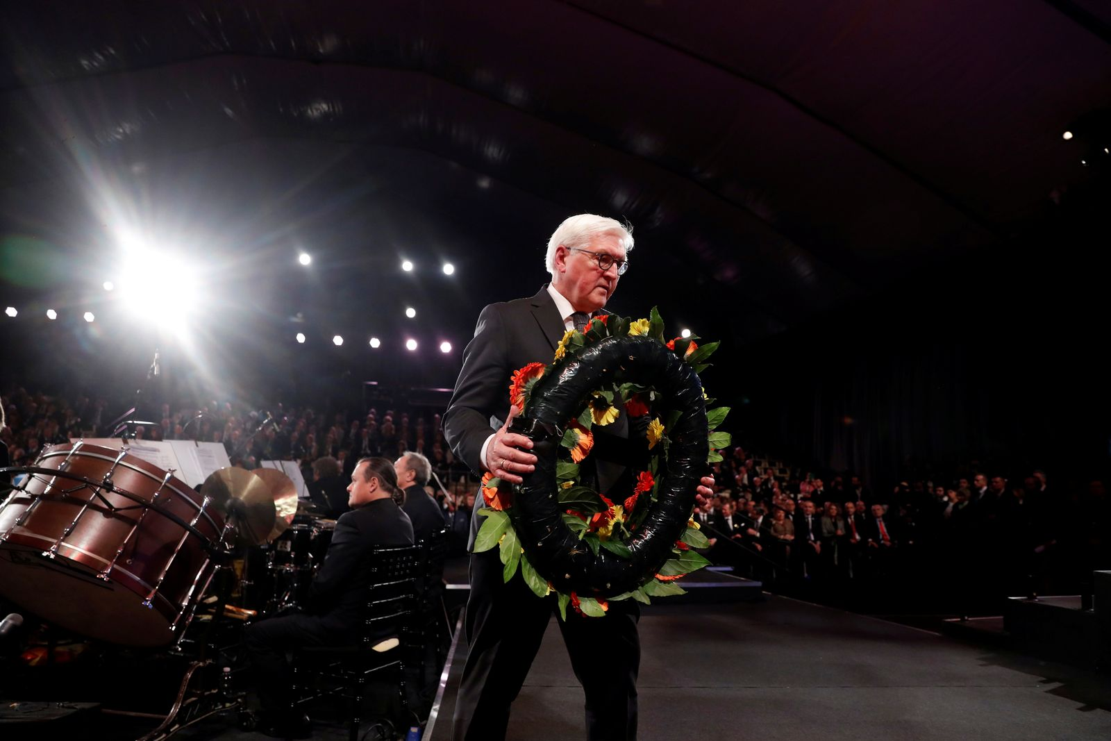 German President Frank-Walter Steinmeier takes part in a wreath-laying ceremony at the World Holocaust Forum, at Yad Vashem Holocaust memorial centre in Jerusalem