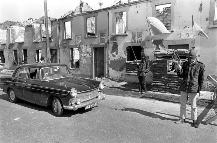 OIRA-Checkpoint in Derry, Nordirland 1972: Aus dem alten Zweig der IRA entstand die INLA