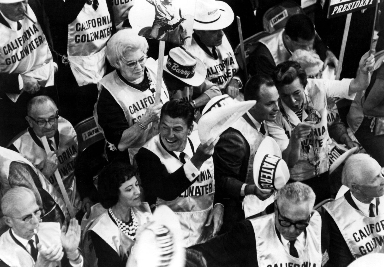 Ronald Reagan in the California Delegation at the Republican Convention demonstrating for the nomination of Senator Barr