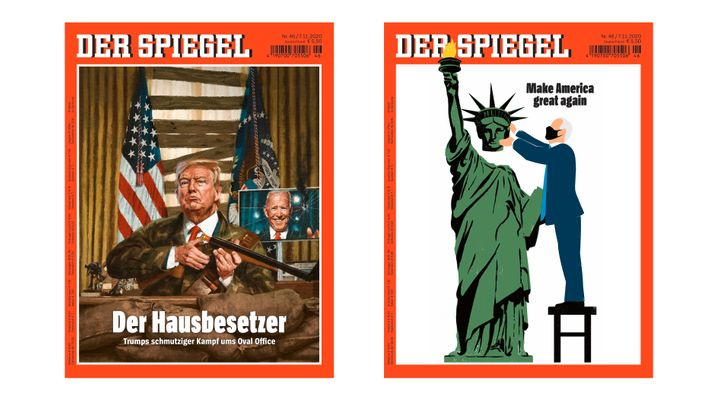 The DER SPIEGEL cover before the race was called and after. Here is the story published on Friday.