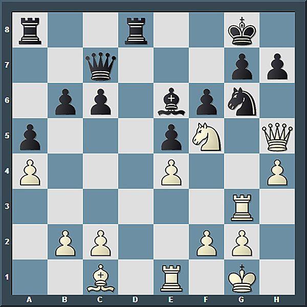 Fast alle weißen Figuren sind vor dem schwarzen König versammelt. Anand ist unter Druck und wickelt nun durch Tausch in ein allerdings schlechteres Endspiel ab.
