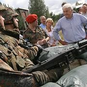 Foreign Minister Frank-Walter Steinmeier talks with German soldiers bound for Afghanistan.