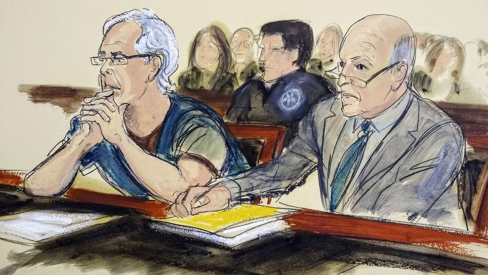 Epstein als Gerichtszeichnung: Aktien im Wert von mehr als 300 Millionen Dollar