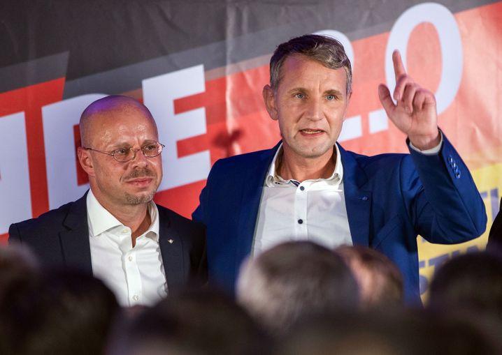 Kalbitz und Björn Höcke nach der Landtagswahl im Oktober 2019 in Thüringen