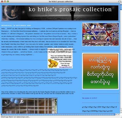 """Screenshot des Blogs von Ko Htike: """"Der Protest ist die Chance, unser Land zu verändern"""""""