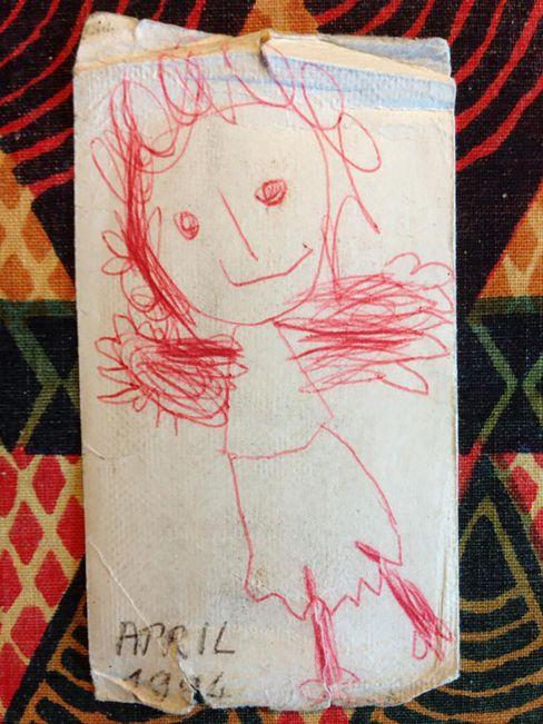 """Zeichnung von Lydia: """"Malen kommt erst nächstes Mal dran, das kann sie ja in dem Alter noch nicht."""""""