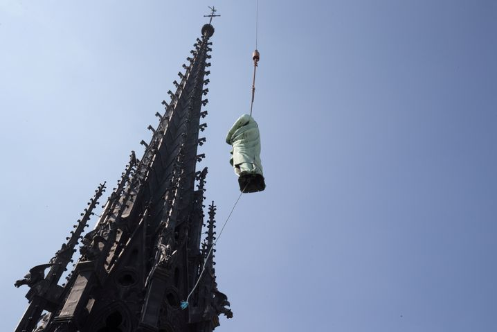 A statue of Saint John was removed from the spire of Notre-Dame cathedral for restoration work only days before the devastating fire broke out.