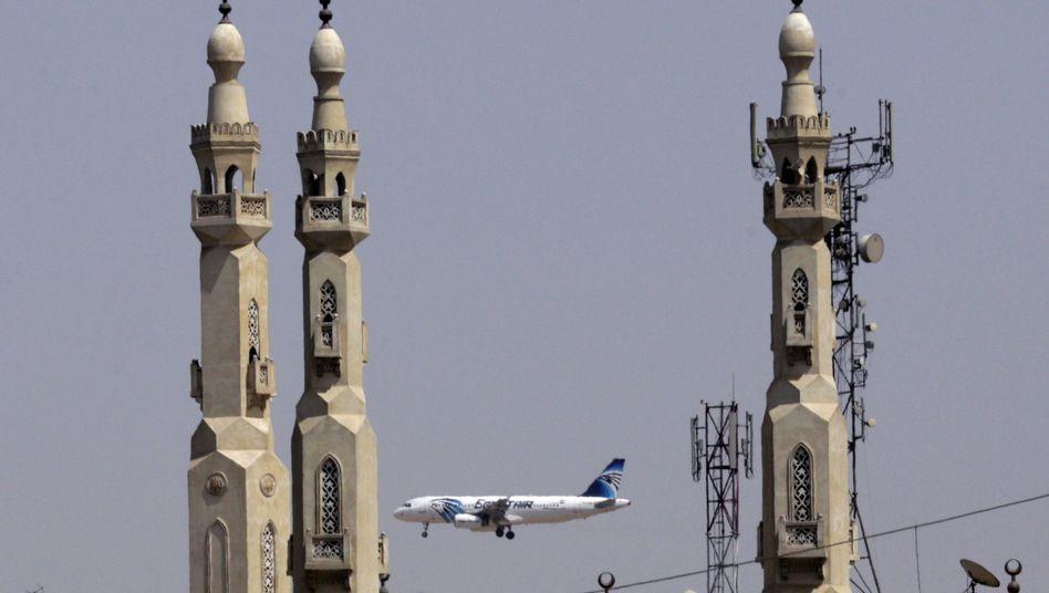 An EgyptAir plane landing in Cairo