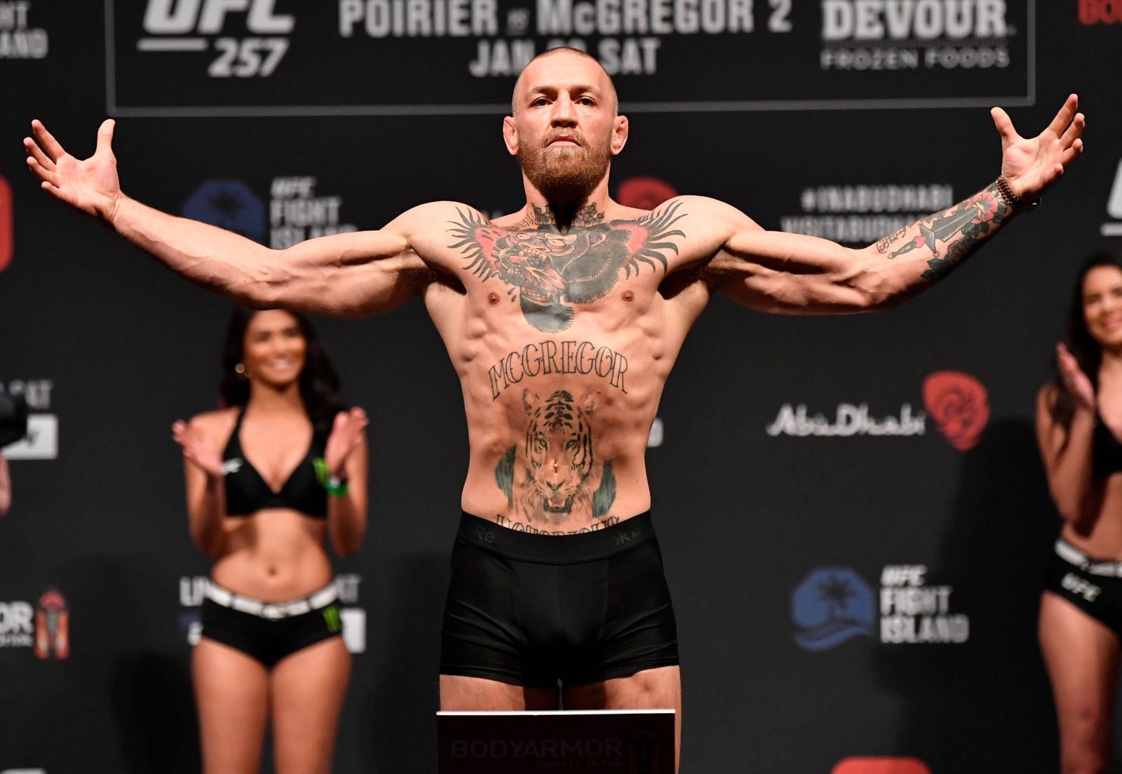 210122 In this handout photo from Zuffa LLC Conor McGregor of Ireland poses on the scale during the UFC 257 weigh-in at