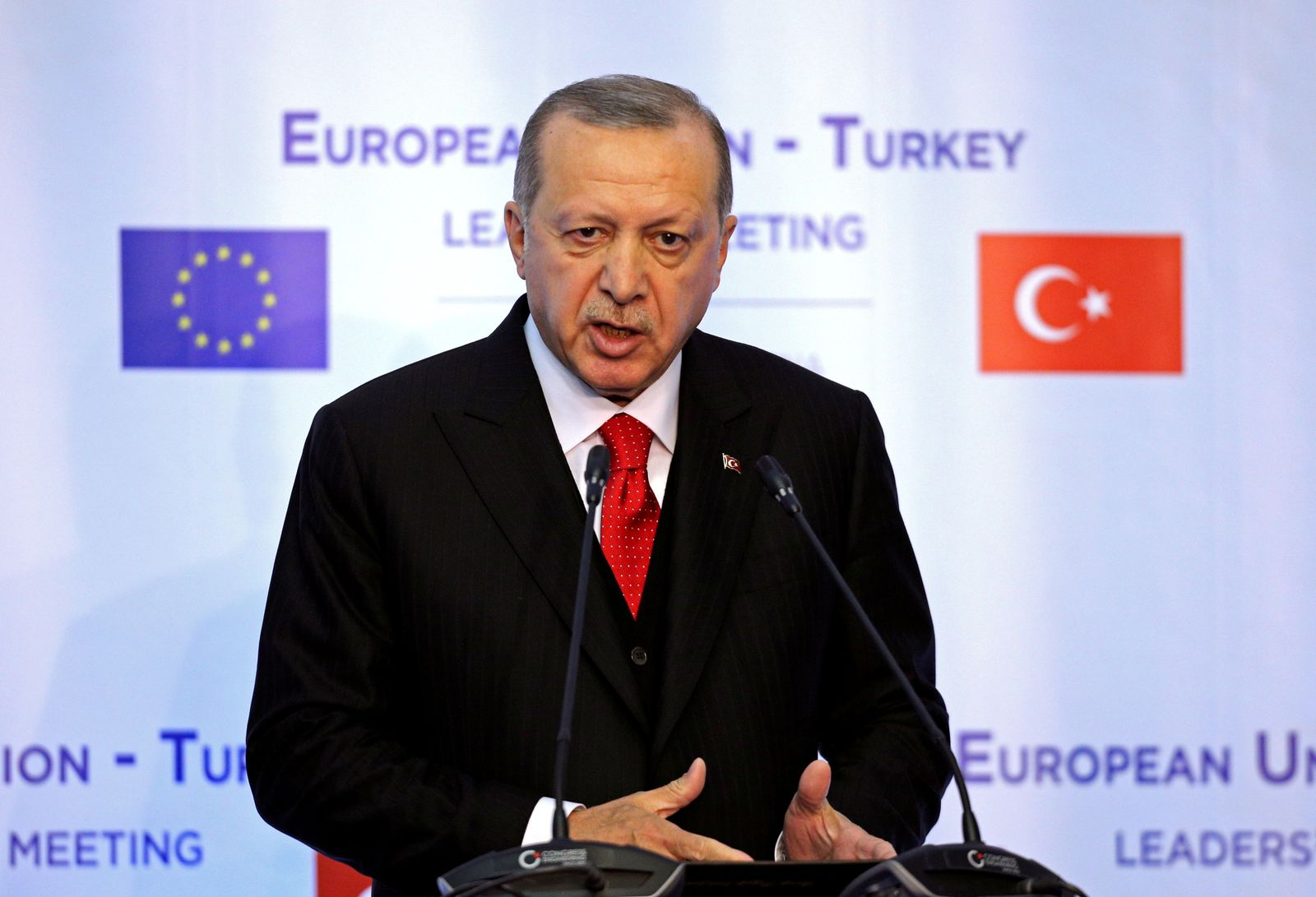 Turkish President Tayyip Erdogan attends a news conference at Euxinograd residence, near Varna