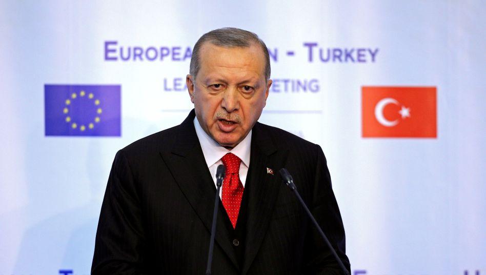 Türkischer Präsident Erdoğan bei einem EU-Türkei-Treffen in Bulgarien, März 2018