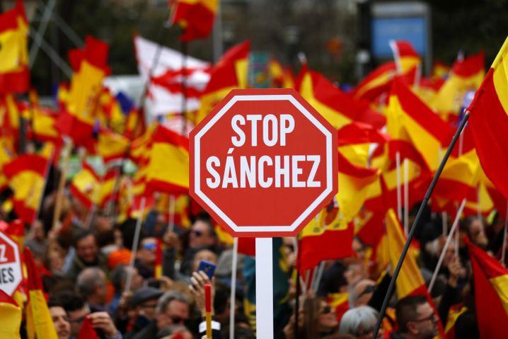 Protestdemonstration gegen Sánchez