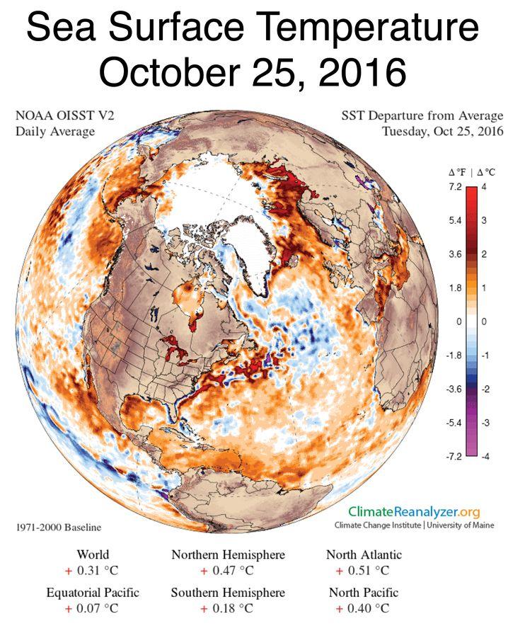Abweichung der Meeresoberflächentemperatur Ende Oktober vom langjährigen Mittel zu dieser Jahreszeit
