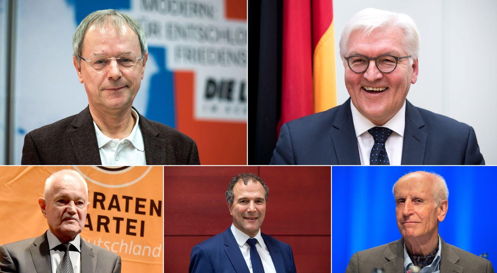 EINMALIGE VERWENDUNG Christoph Butterwegge/ Frank-Walter Steinmeier / Alexander Hold / Engelbert Sonneborn / Albrecht Glaser