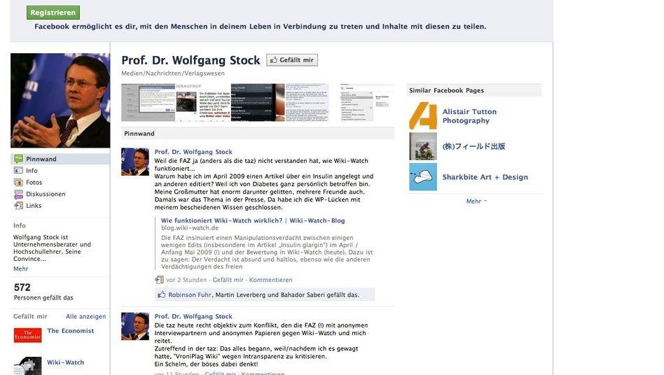 Facebook-Seite: Wikipedia-Beobachter Stock sagt, er habe einige Artikel überarbeitet