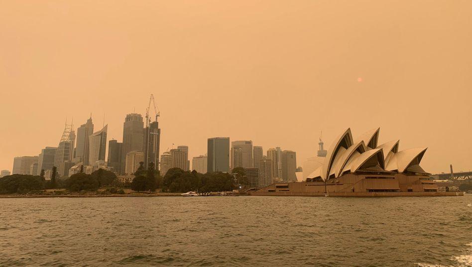 Sydney am 6. Dezember in einer dichten Staubwolke: Bilder wie dieses schrecken viele Touristen ab - die Gästezahlen in der größten Stadt Australiens sind drastisch zurückgegangen