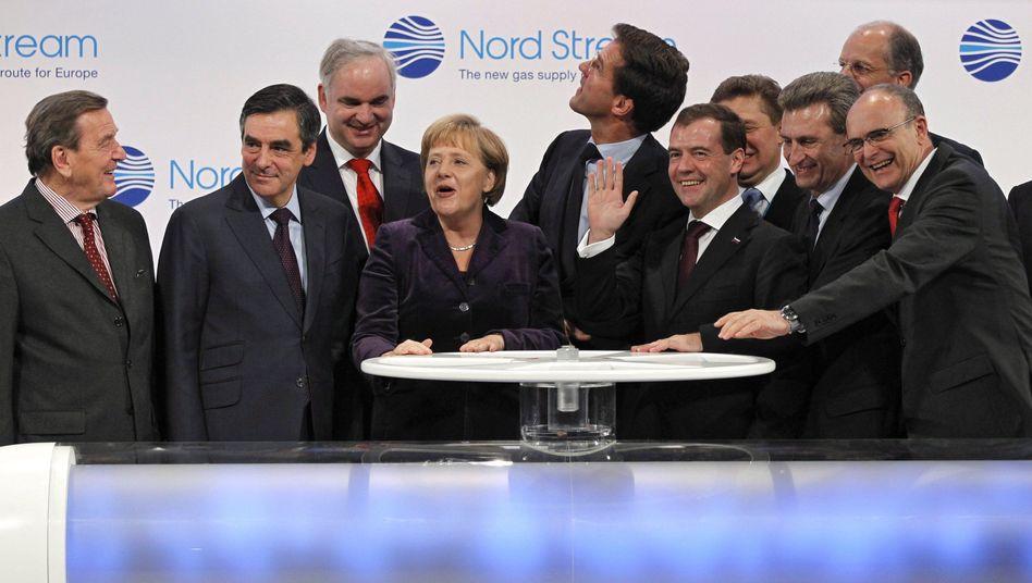 Mega-Projekt: Merkel und Medwedew eröffnen Ostsee-Pipeline