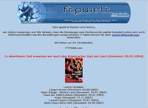 ftp-welt (Screenshot aus dem Dezember 2003): Auf seriös gebürsteter Raubkopie-Shop