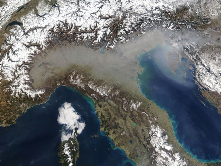 A gray haze over Italy in March 2005 -- Northern Italy in particular is often faced with serious air pollution.