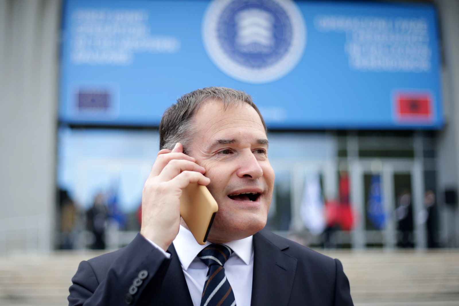 Frontex's Executive Director Fabrice Leggeri uses his phone before a meeting in Tirana